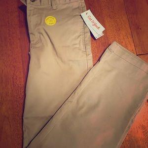 Boys Khaki flat front pants